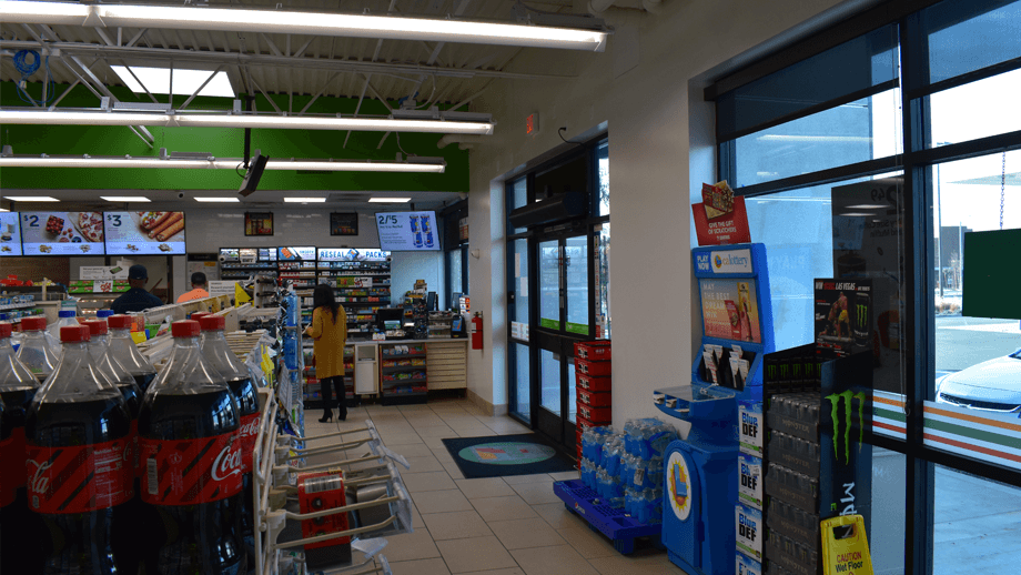 Indoor image of 7-11 main entrance.